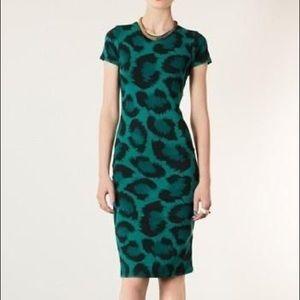 TopShop Green leopard print body con dress Sz 4